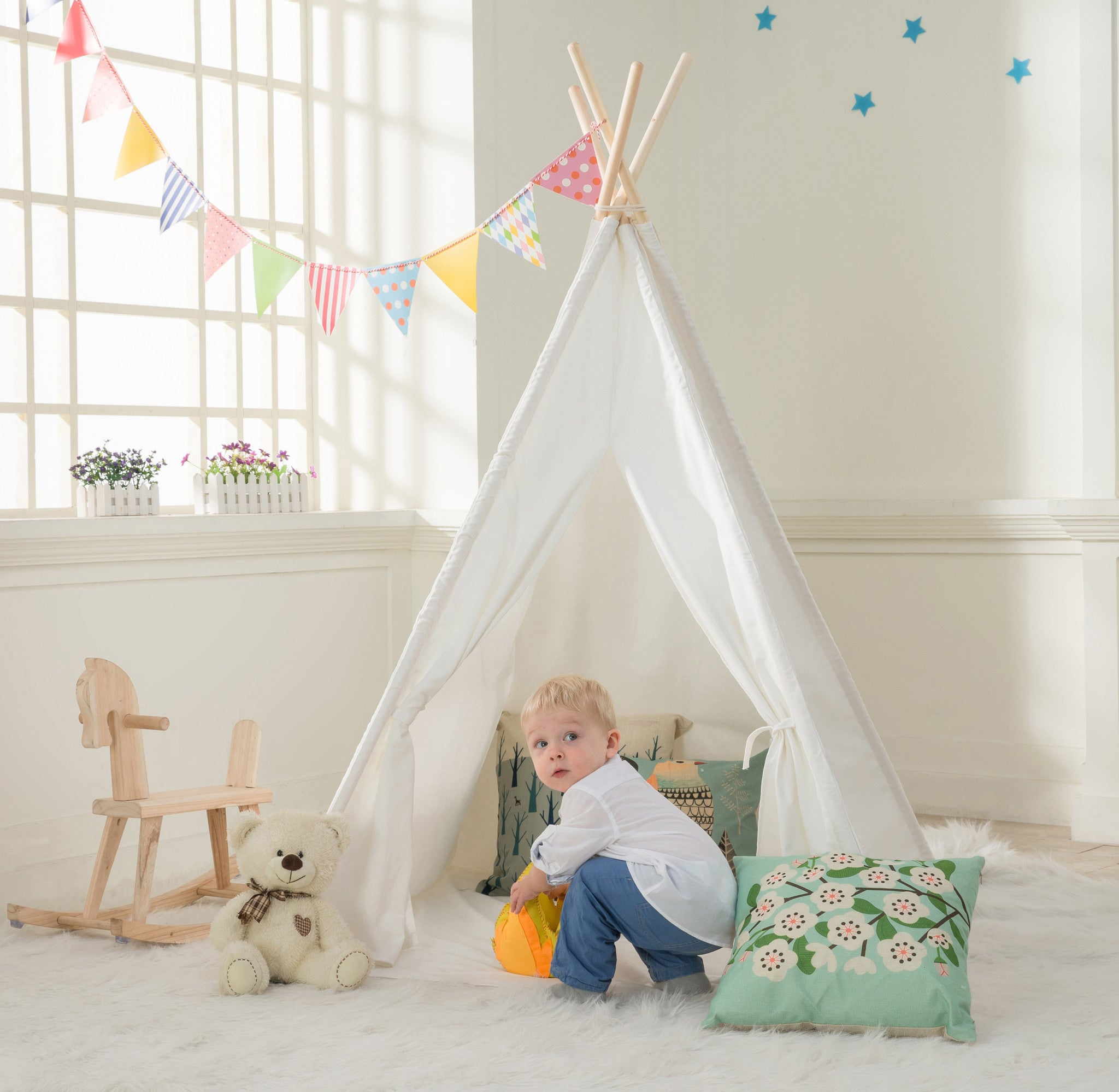 Dalosdream Kids Teepee Tent with Floor Mattress and Window