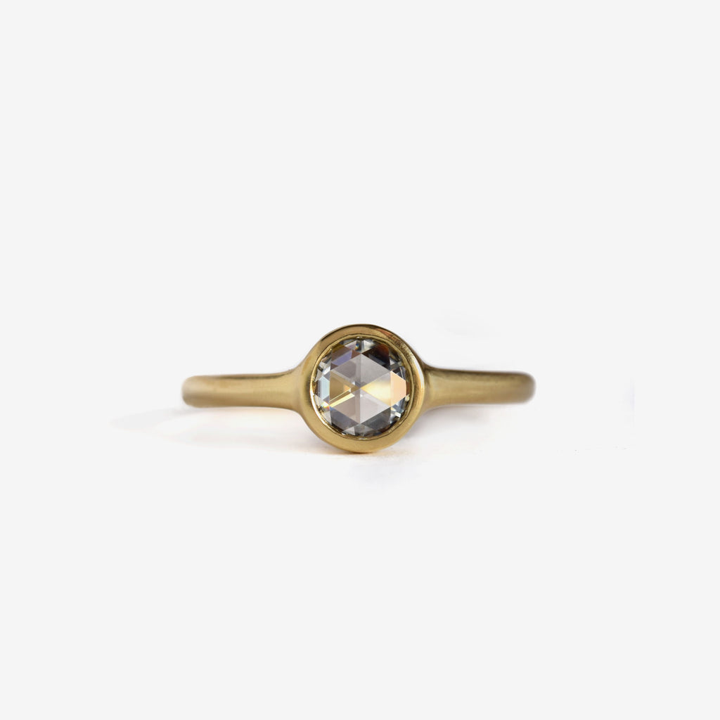 classic rose cut round diamond ring in 18k yellow gold