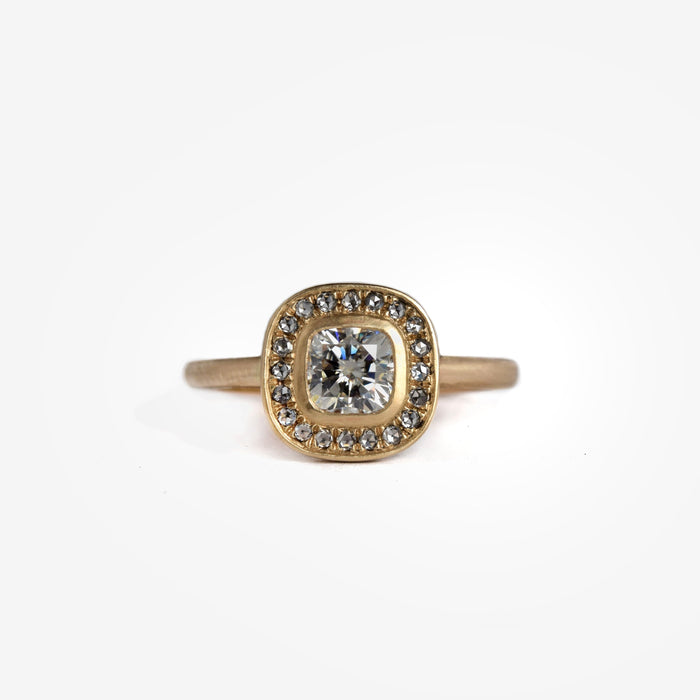 Cushion Diamond | Rose Cut Diamond Halo Ring