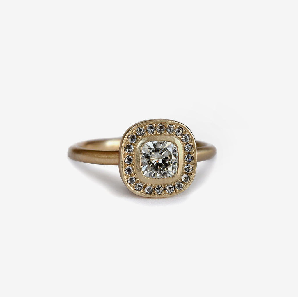 rose cut diamond halo antique cushion cut ring in 14k gold