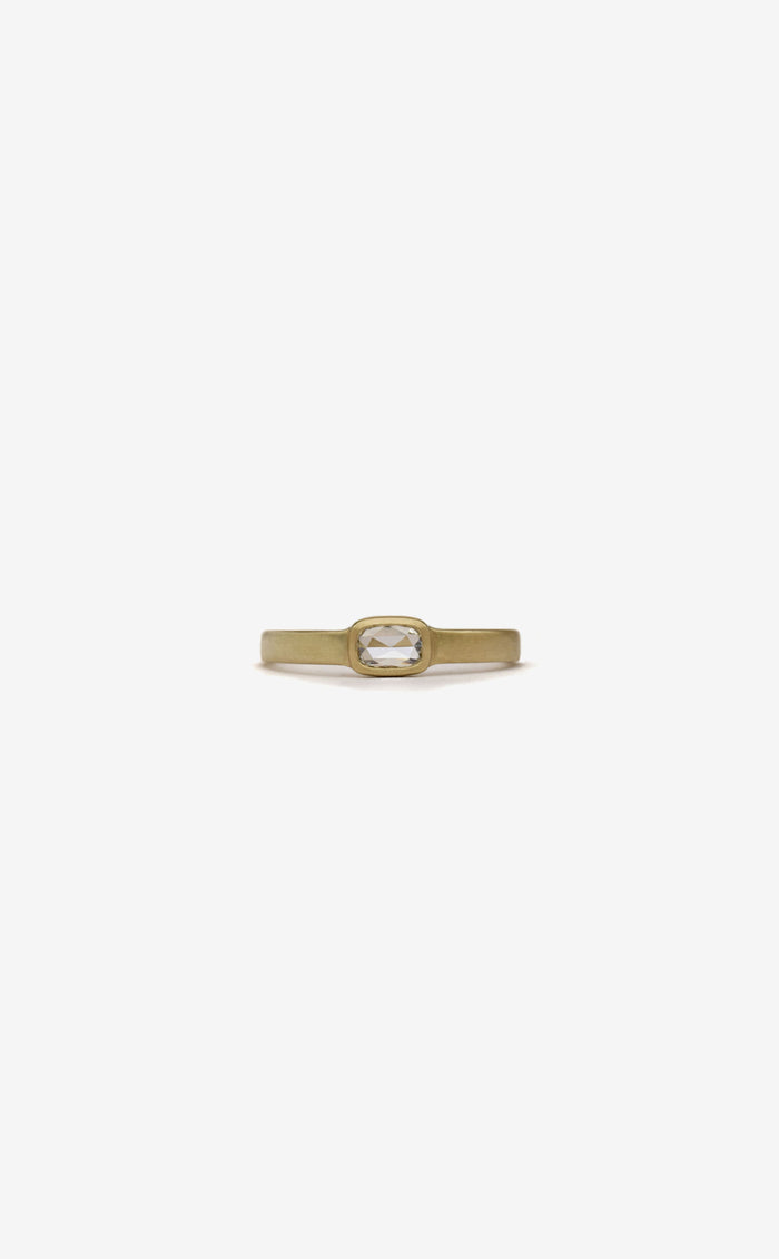 cushion rose cut diamond flat band bezel ring in 14k yellow gold