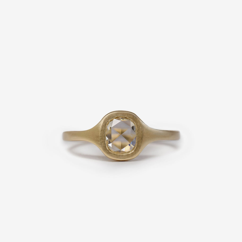 Rose cut cushion diamond solitaire ring in 14k gold