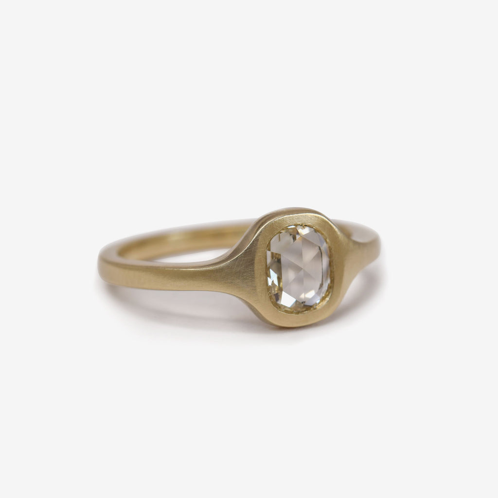 rose cut cushion shaped diamond ring in bezel setting