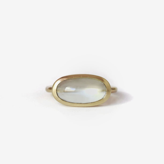 Sri Lanka origin green moonstone cabochon ring in 14k yellow gold