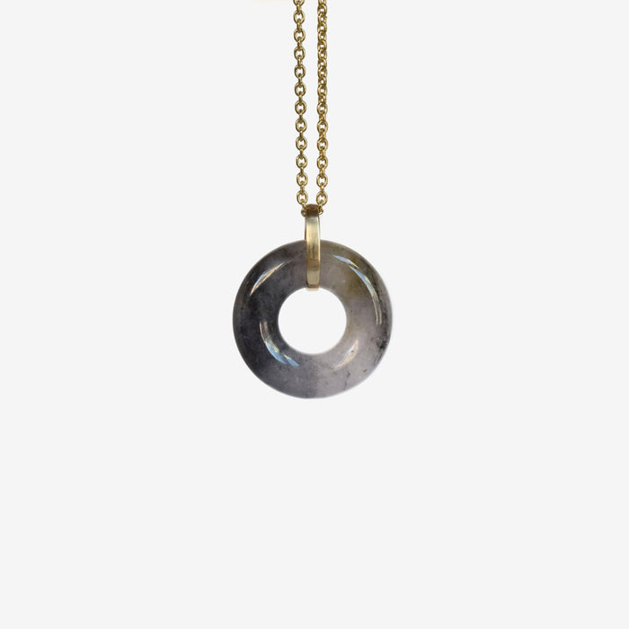recycled black and grey jade circle pendant in 14k yellow gold