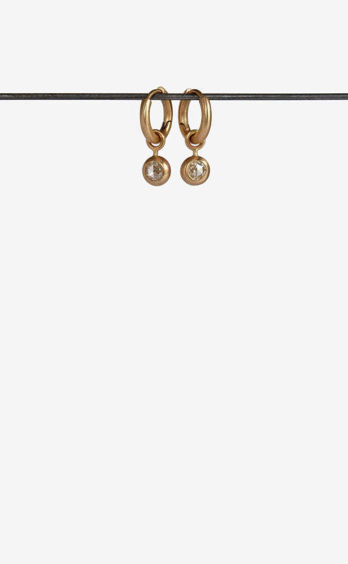 Rose Cut Diamond Gold hoop earrings