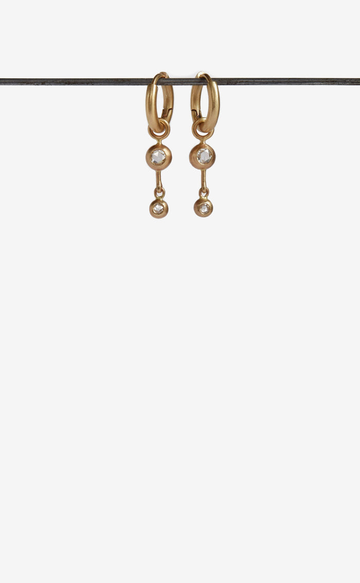 double rose cut diamond gold hoop earrings