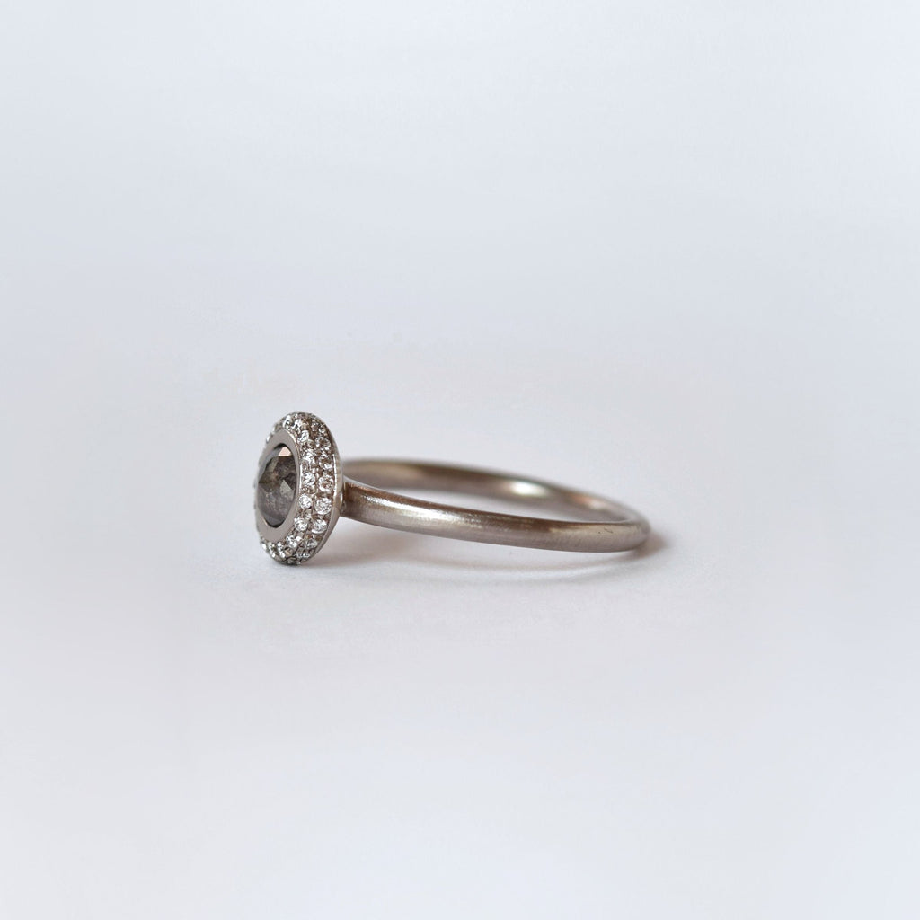 Grey diamond double pavé solitaire