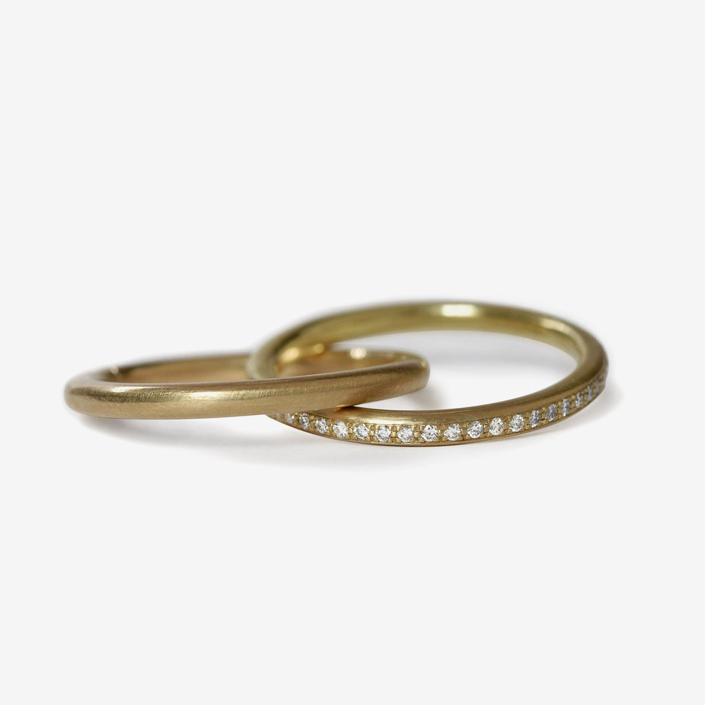 double bands with pave diamonds in 14k yellow gold