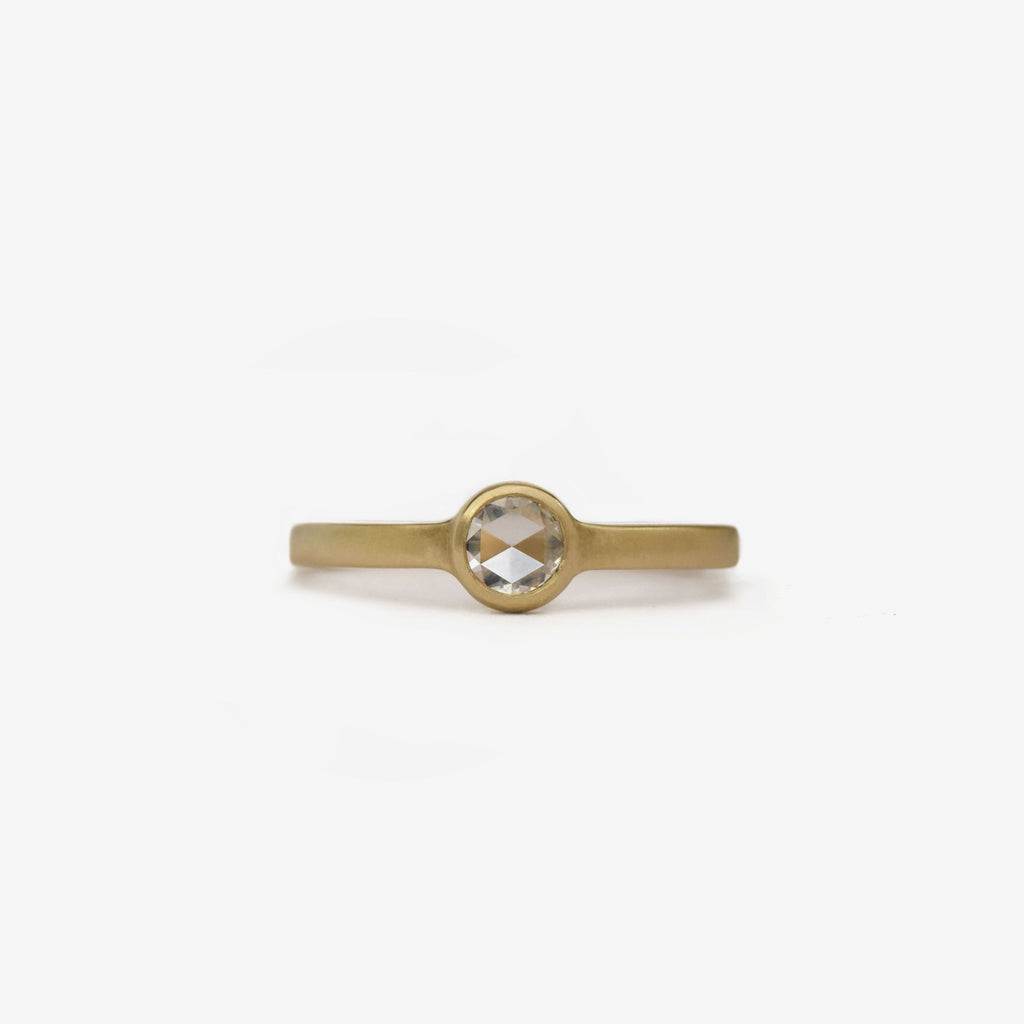 rose cut round diamond solitaire flat band bezel ring in 14k yellow gold