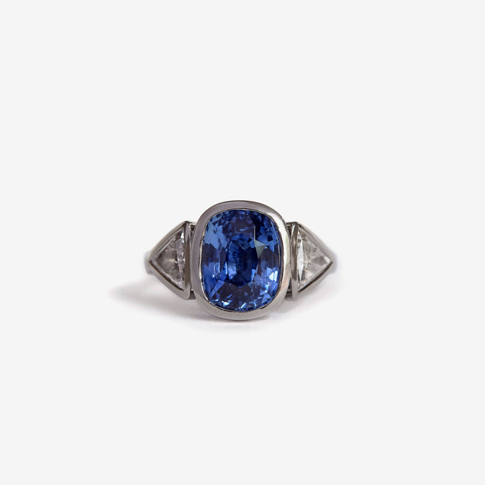 3 stone cushion cut natural sapphire and diamond ring