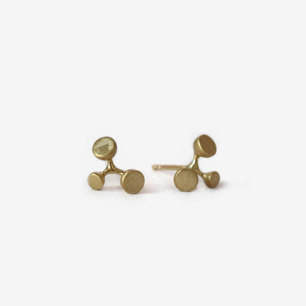 botanical inspired floret gold stud earrings - large