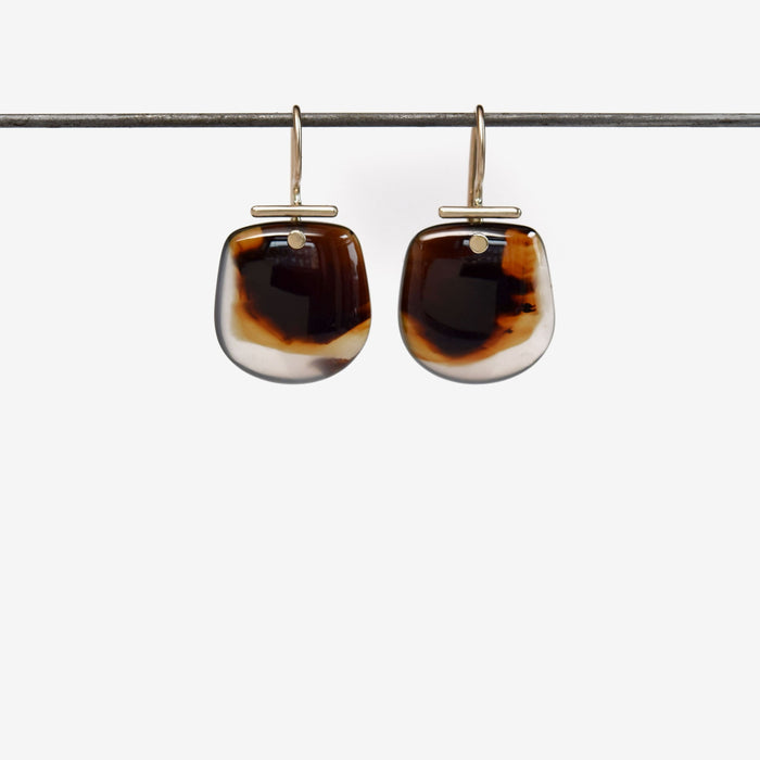 hand carved montana agate cabochon earrings in 14k gold