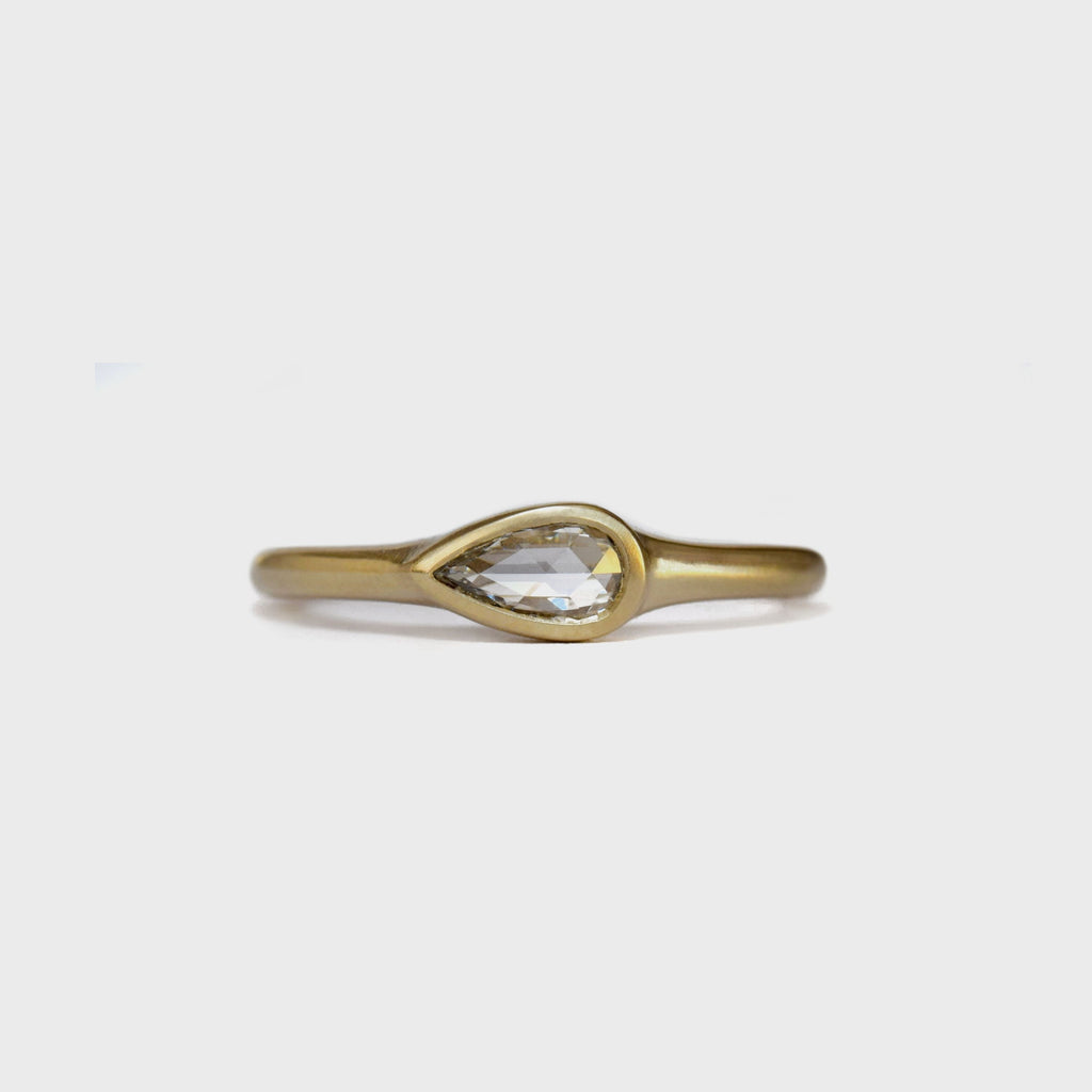Pear rose cut diamond | 0.25 ct | classic bezel ring