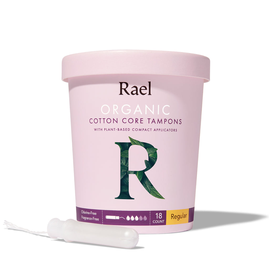 Rael Regular Organic Cotton Tampons with Plant-based Compact Applicator 18s