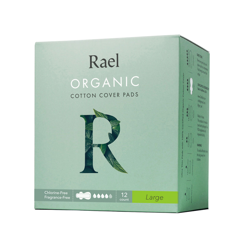 Rael Large Sanitary Pads with Certified Organic Cotton Cover 12s