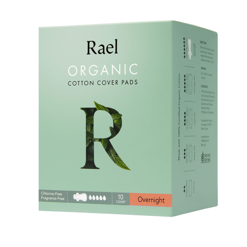 Rael Overnight Pads with Organic Cotton Cover 10s