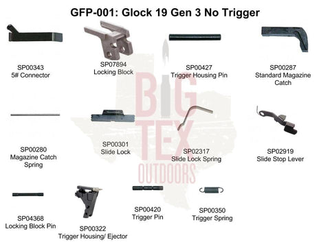 .Glock OEM Frame Parts Package 9mm