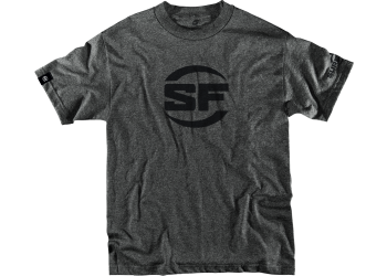 SUREFIRE BUTTON LOGO DARK GRAY 60% Cotton 40% Polyester Blend Men's SureFire T-shirt