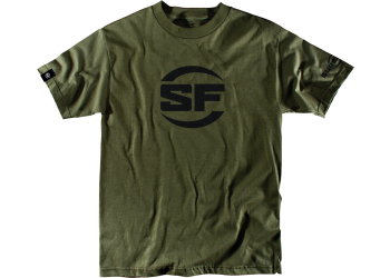 SUREFIRE BUTTON LOGO OLIVE DRAB 50/50 Polyester Cotton Blend Men's SureFire T-shirt