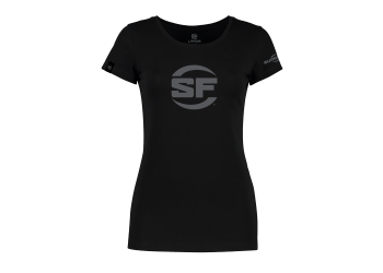 SUREFIRE BUTTON LOGO BLACK FOR WOMEN 100% Cotton Women's SureFire T-shirt