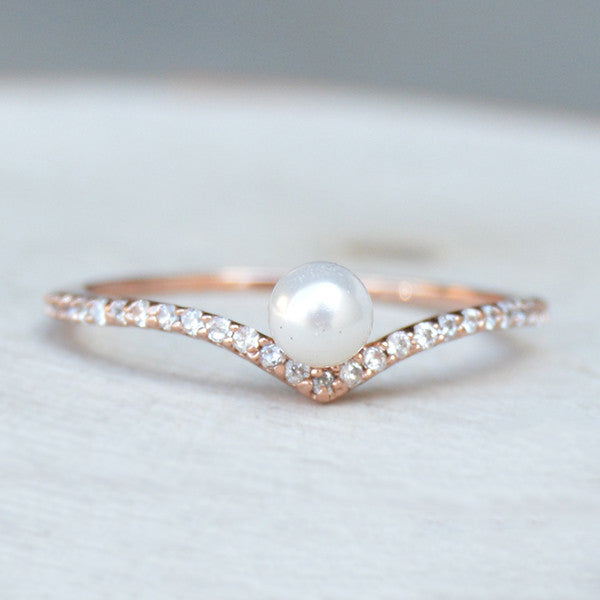 Rose Gold V Pearl Ring by the Faint Hearted Jewelry
