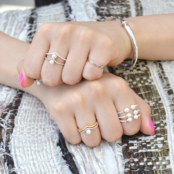 Silver Stacking Rings with Pearls by the Faint hearted jewelry