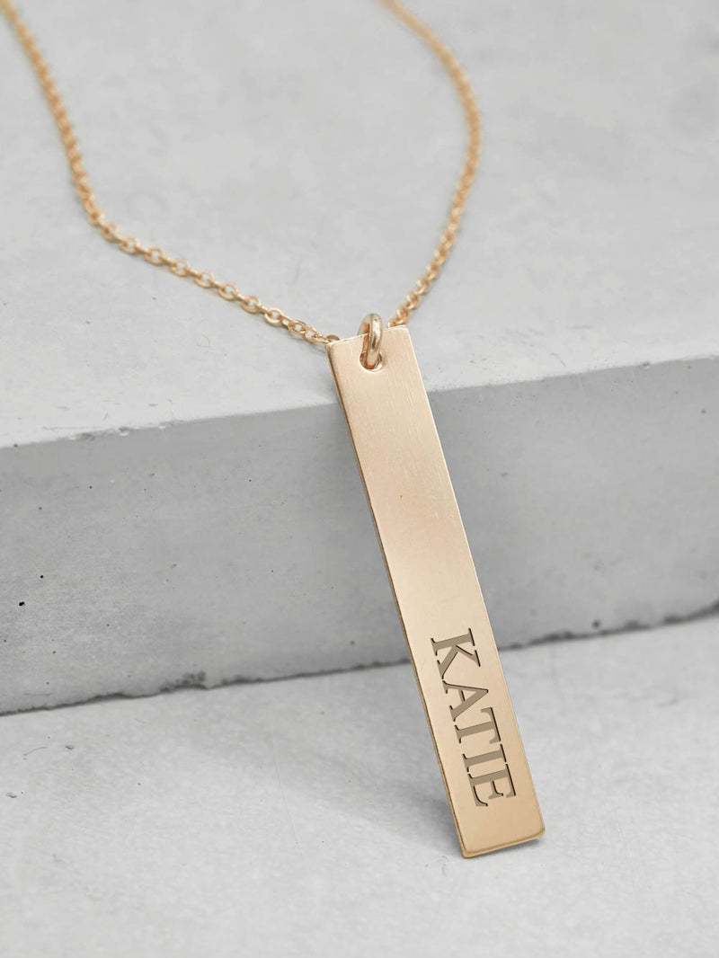 Vertical Gold Bar Custom Name Tag Gold Necklace by The Faint Hearted Jewelry