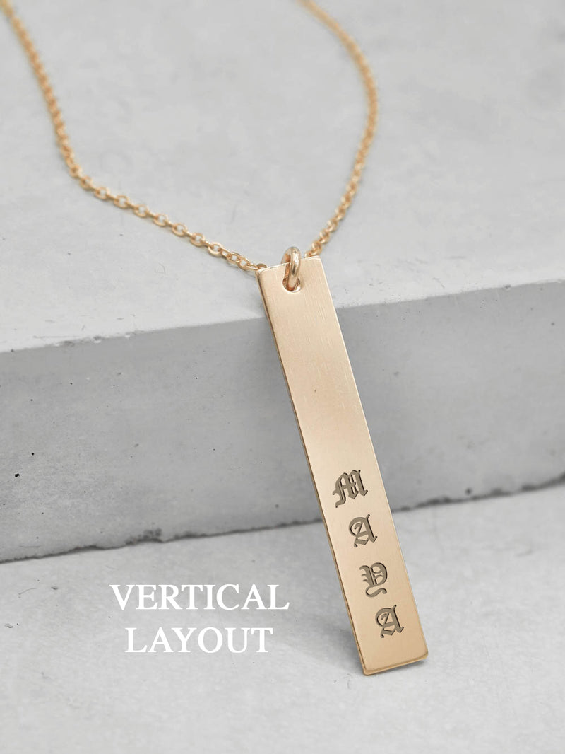 Personalized Vertical Name Tag Necklace by The Faint Hearted Jewelry