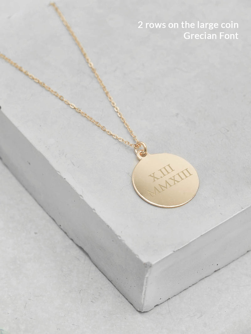 Grecian Font Large Gold Coin Necklace by The Faint Hearted Jewelry