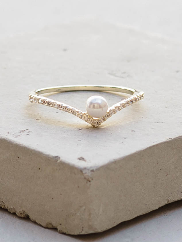 Gold V Pearl Ring by The Faint Hearted Jewelry