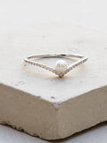 Silver V Pearl Ring by The Faint Hearted Jewelry