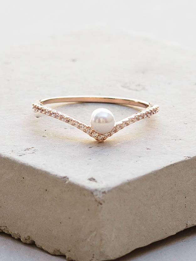 Rose Gold V Ring with pearl by The Faint Hearted Jewelry