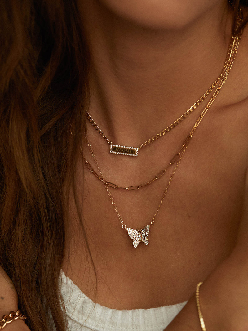 Large Butterfly Necklace - Gold
