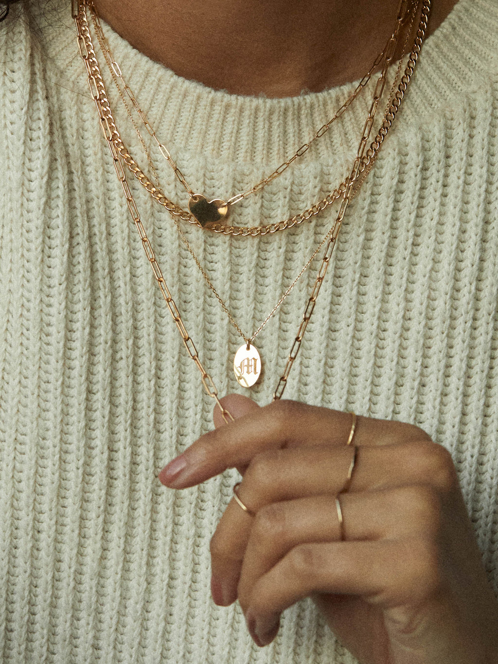 Engraved Oval Tag Necklace - Gold