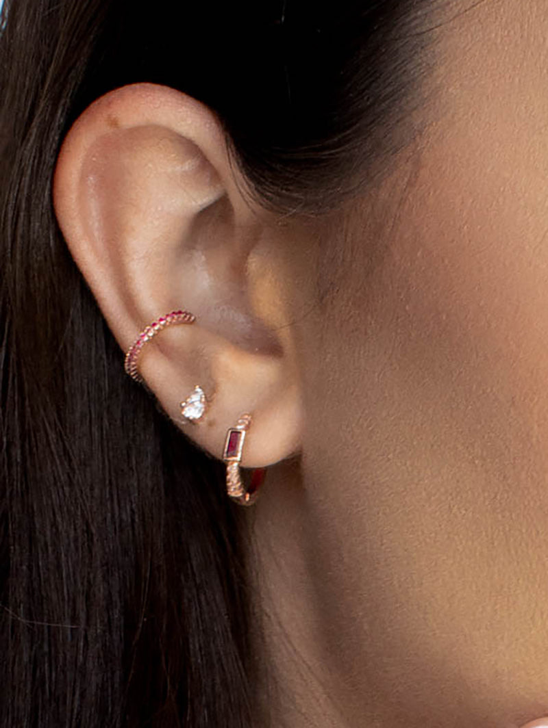 No Piercing Eternity Ear Cuff - Rose Gold + Pink