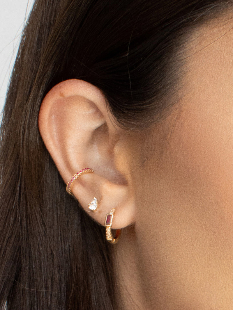 No Piercing Eternity Ear Cuff - Gold + Pink