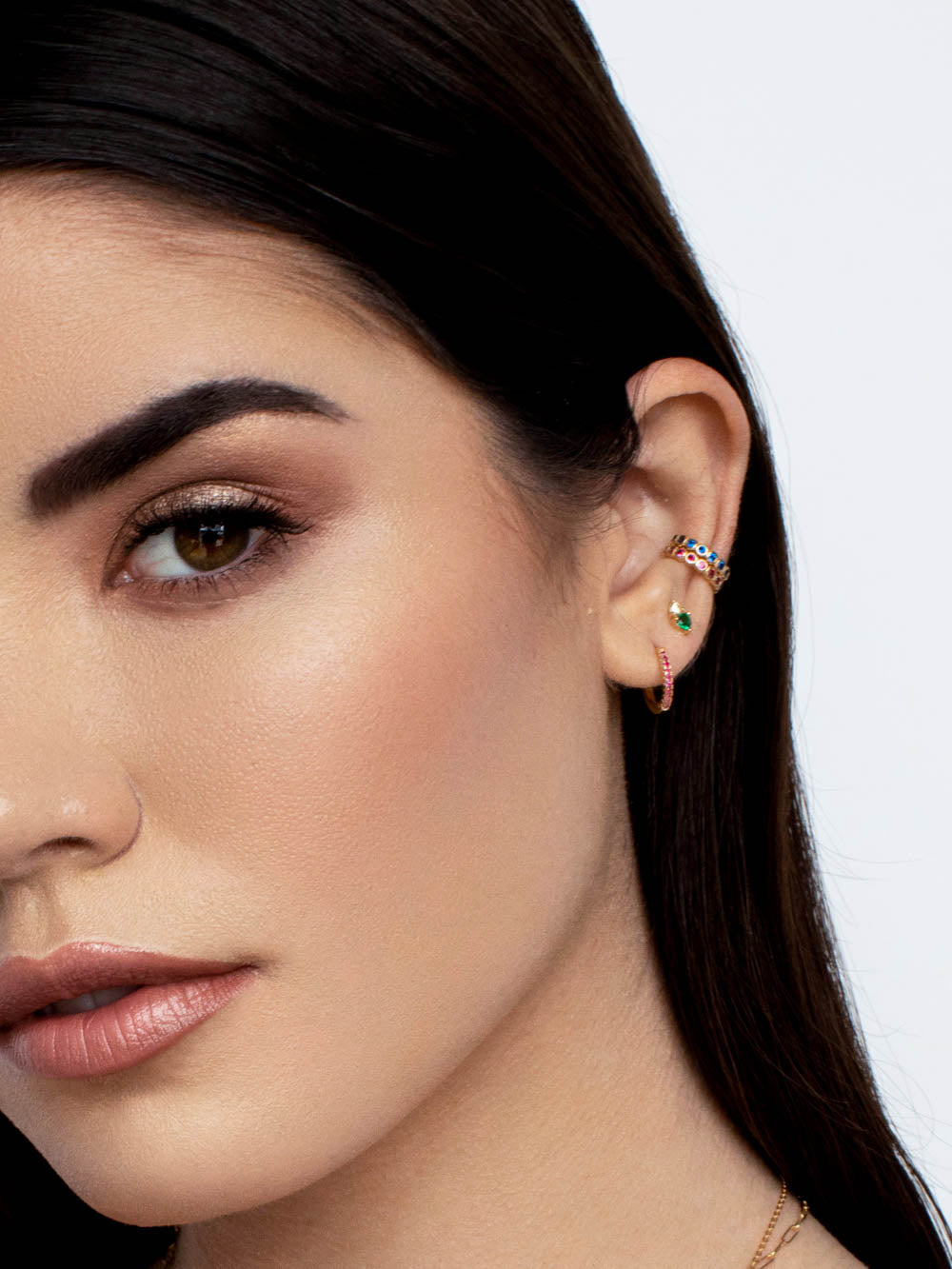 Minimalistic Gold Plated brass Bezel Setting Round Cubic Zirconia CZ No piercing Earcuff Earrings by The Faint Hearted Jewelry