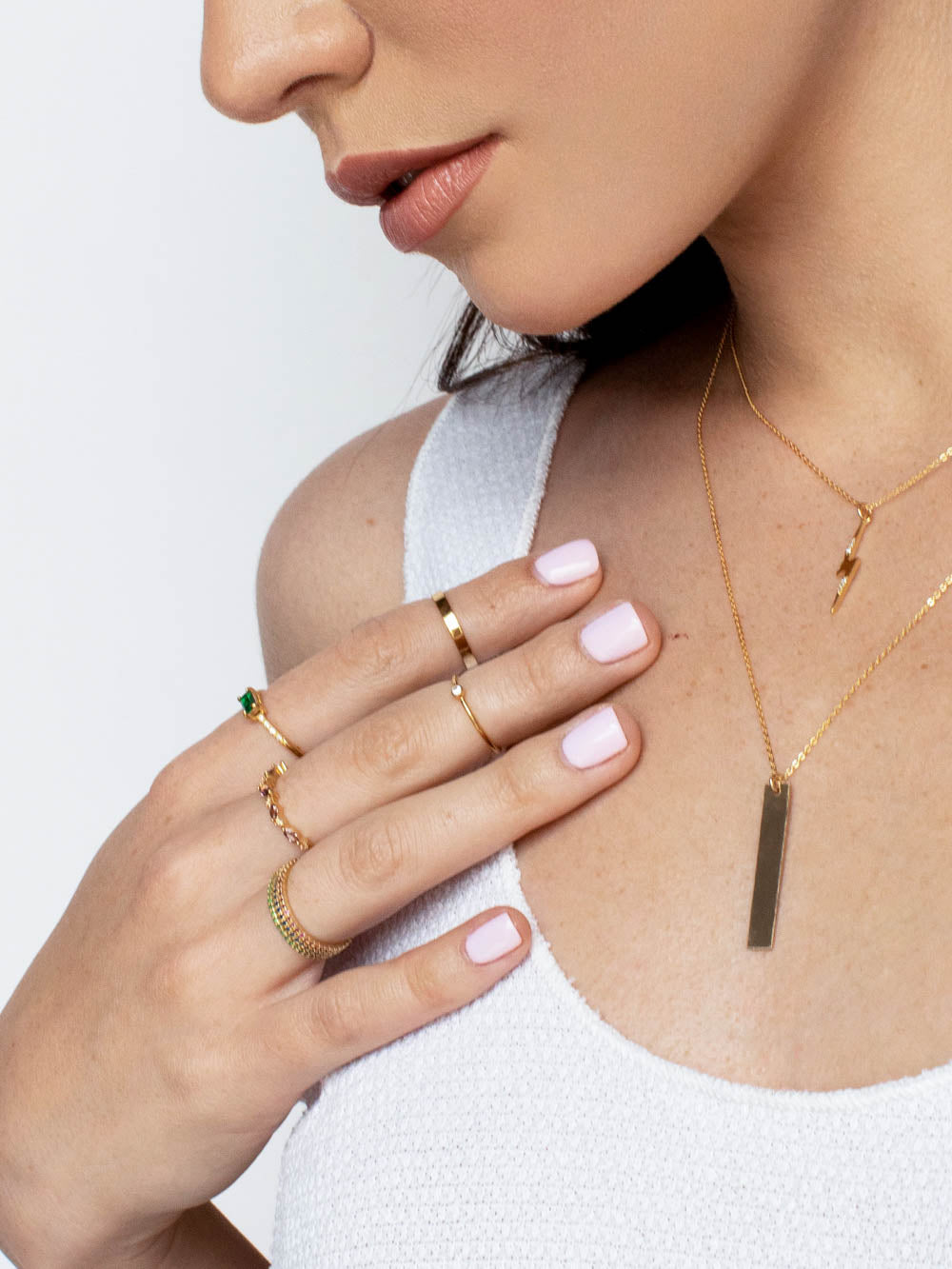 Bolt Charm Necklace Gold by The Faint Hearted Jewelry