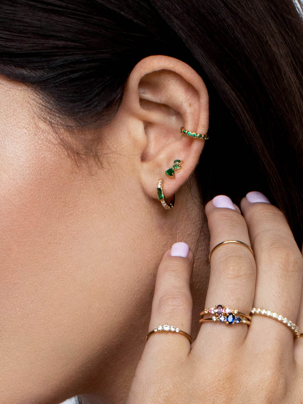 No Piercing Bezel Ear Cuff - Gold + Green