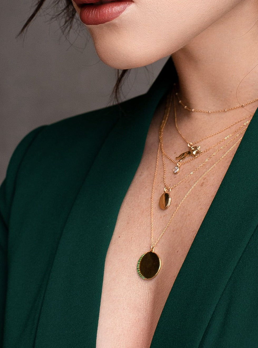 Gold Plated Green CZ Emerald Crescent moon  Charm Necklace by The Faint Hearted Jewelry