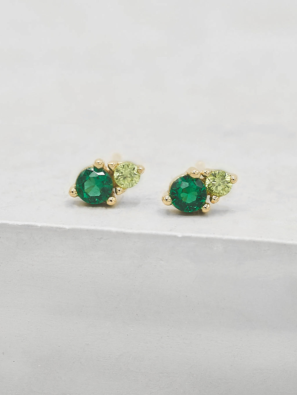 Two Stone Green CZ Round Cut Stud Earrings by The Faint Hearted Jewelry