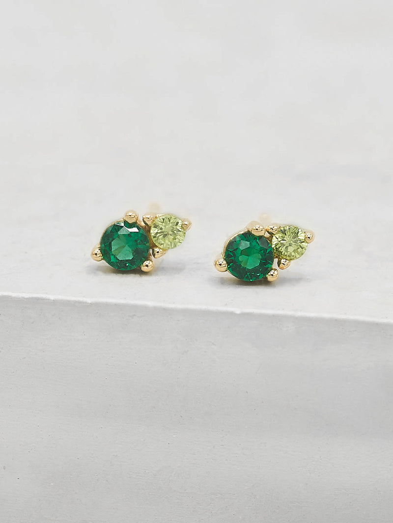 2-Stone Studs - Gold + Green