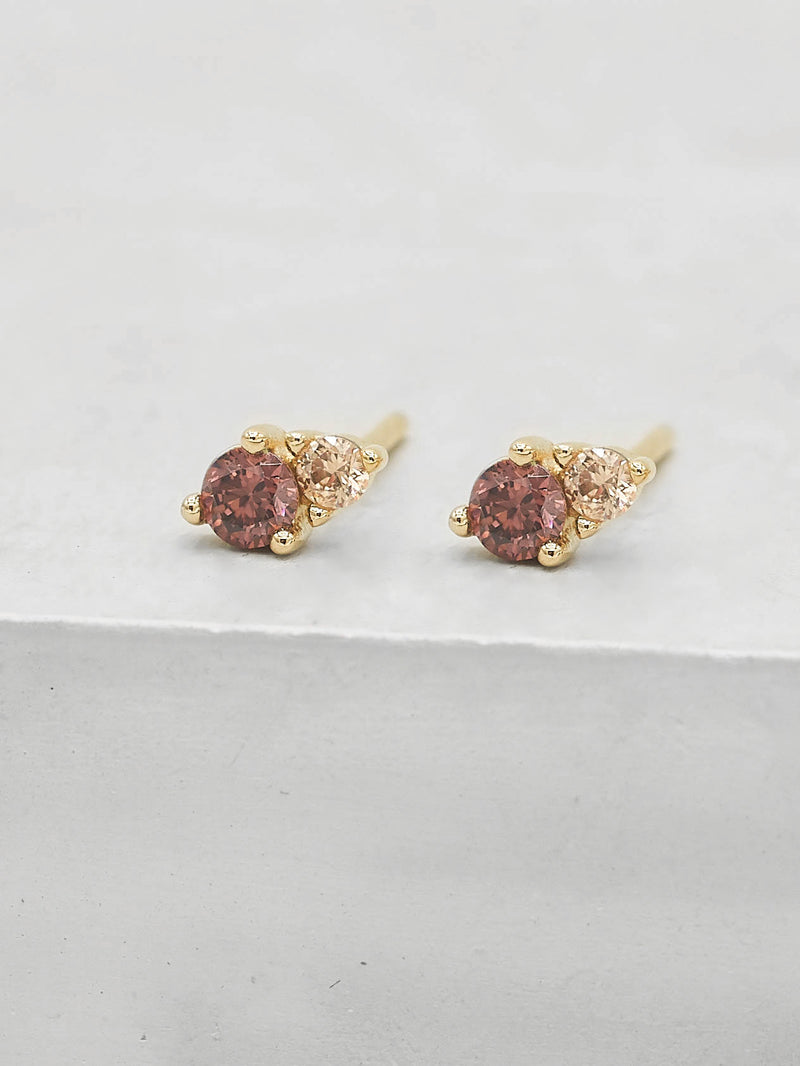 2 Stone Gold Plated Round Shape Pink Color CZ Stud Earrings by The Faint Hearted Jewelry