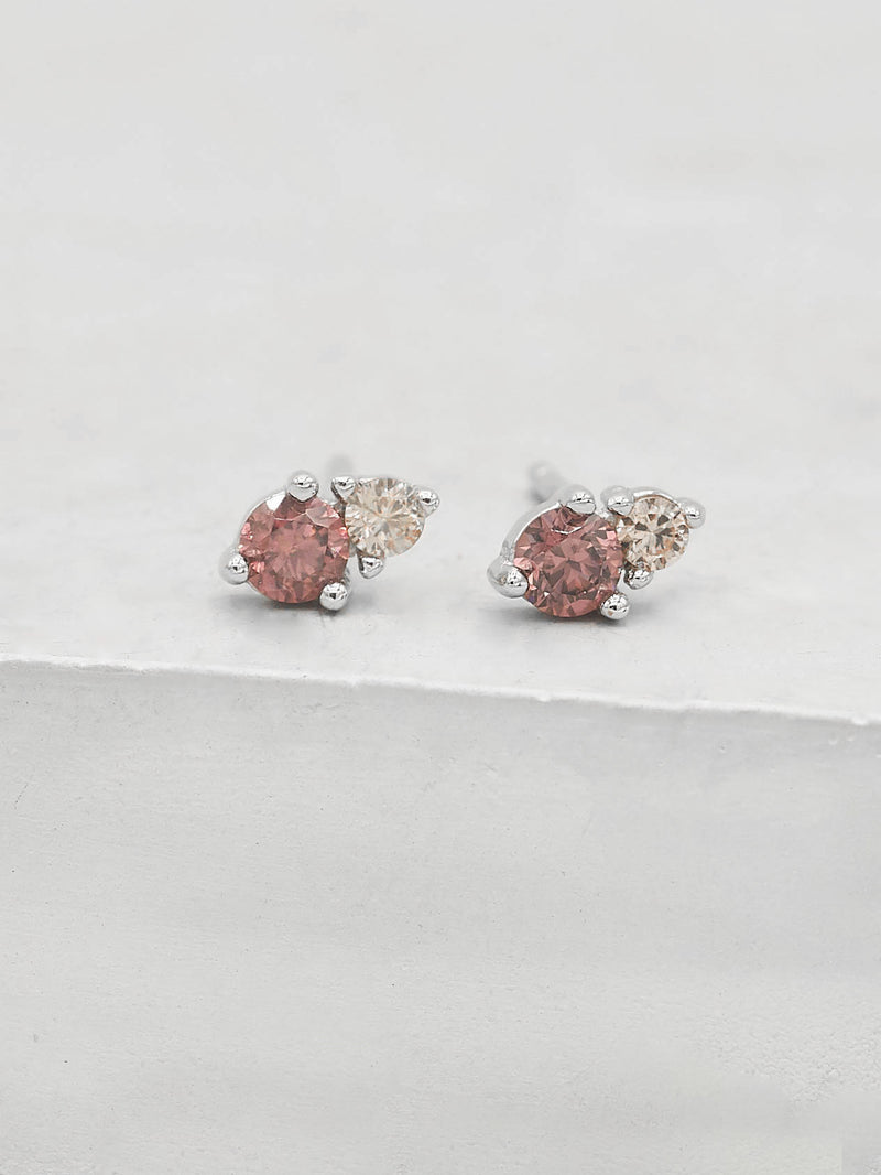 Pink CZ Round Shape 2 Stone Silver Stud Earrings by The Faint Hearted Jewelry