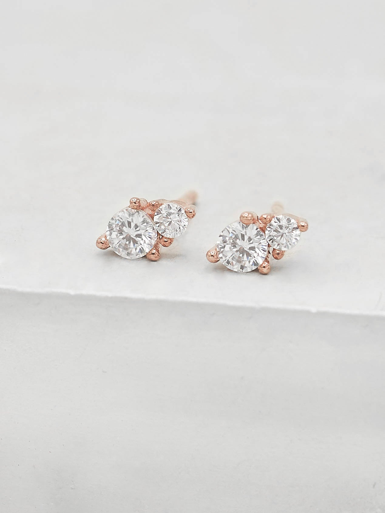 2-Stone Studs - Rose Gold