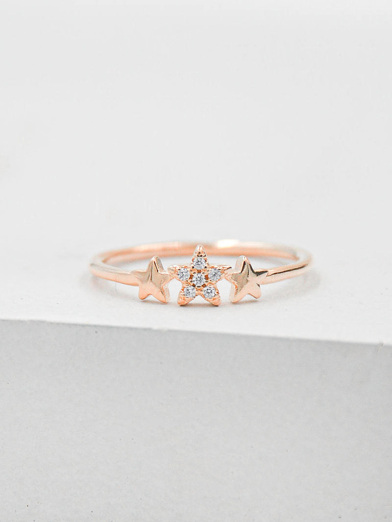 Rose Gold 3 Star Stacking Ring by The Faint Hearted Jewelry