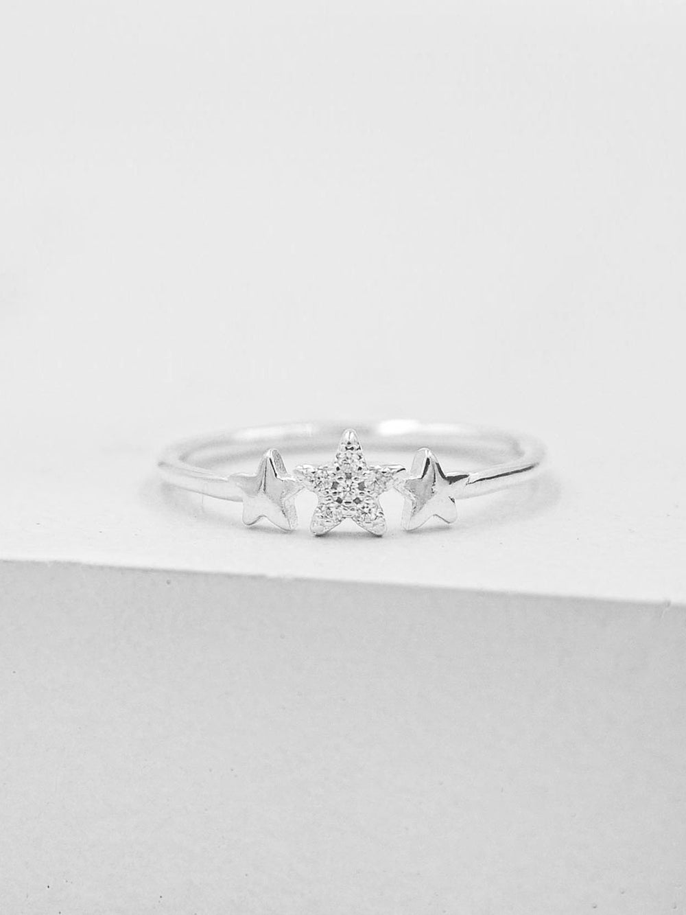 Silver Stacking Ring with 3 Star CZ by The Faint Hearted Jewelry