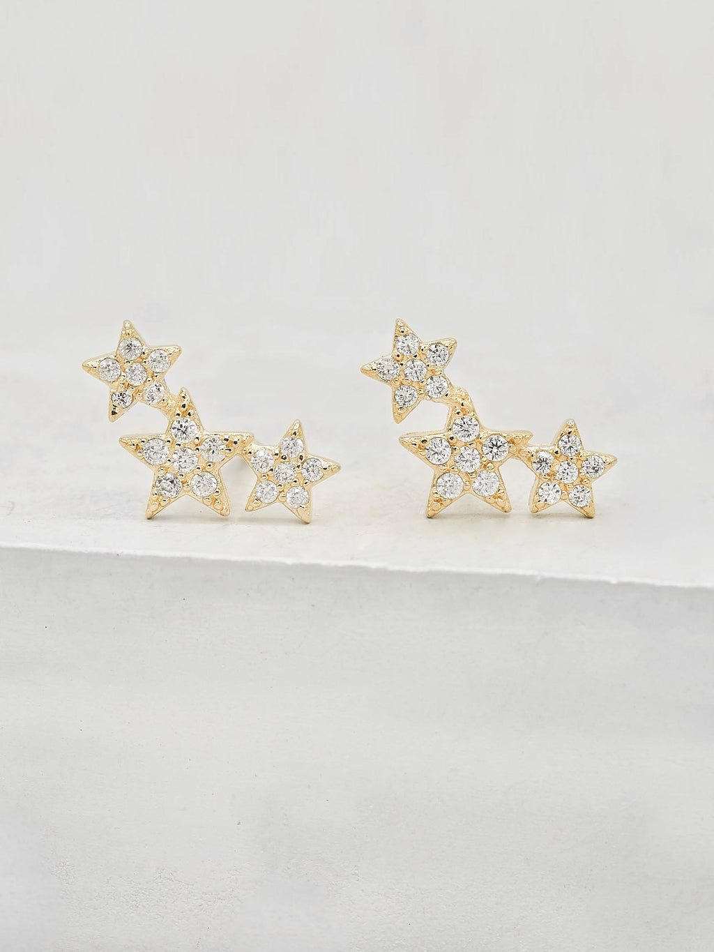 3 Star Studs With White tiny Round CZ Gold Stud Earrings by The Faint Hearted Jewelry