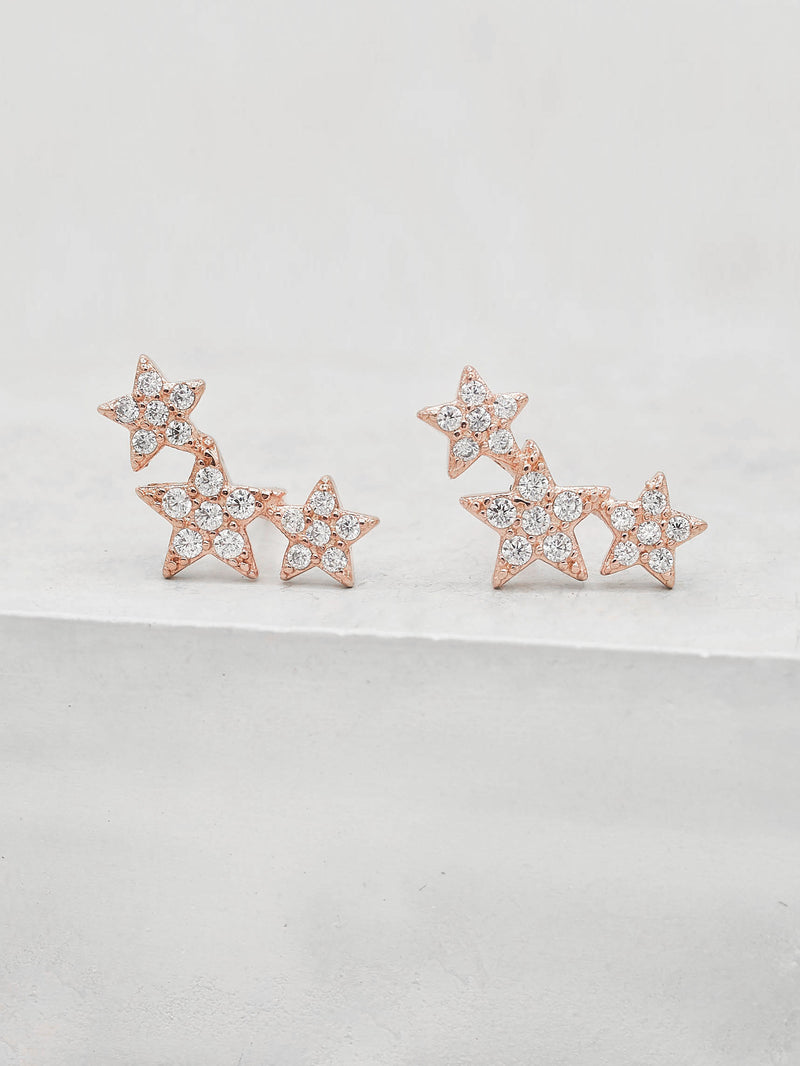Rose Gold Plated 3 Stars design with CZ Stud Earrings by The Faint Hearted Jewelry
